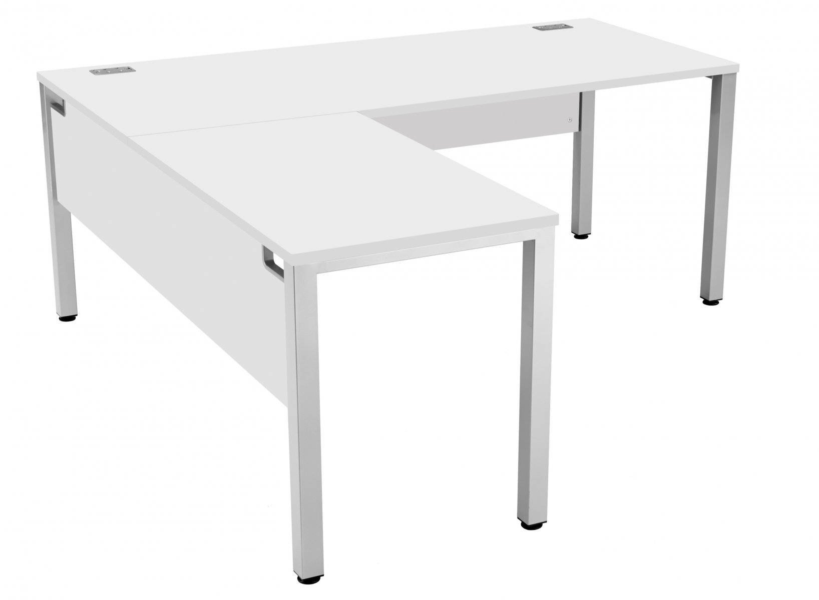 Fraction 3 Left Hand 180 Return Workstation - White with Silver Frame