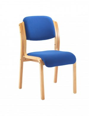 Renoir Stacking Side Chair with No Arms - Royal Blue with Beechwood Frame