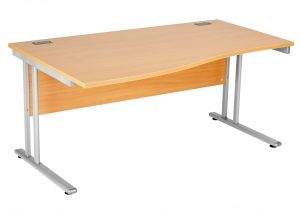 Fraction 2 Left Hand 160 Wave Workstation - Beech with Silver Frame