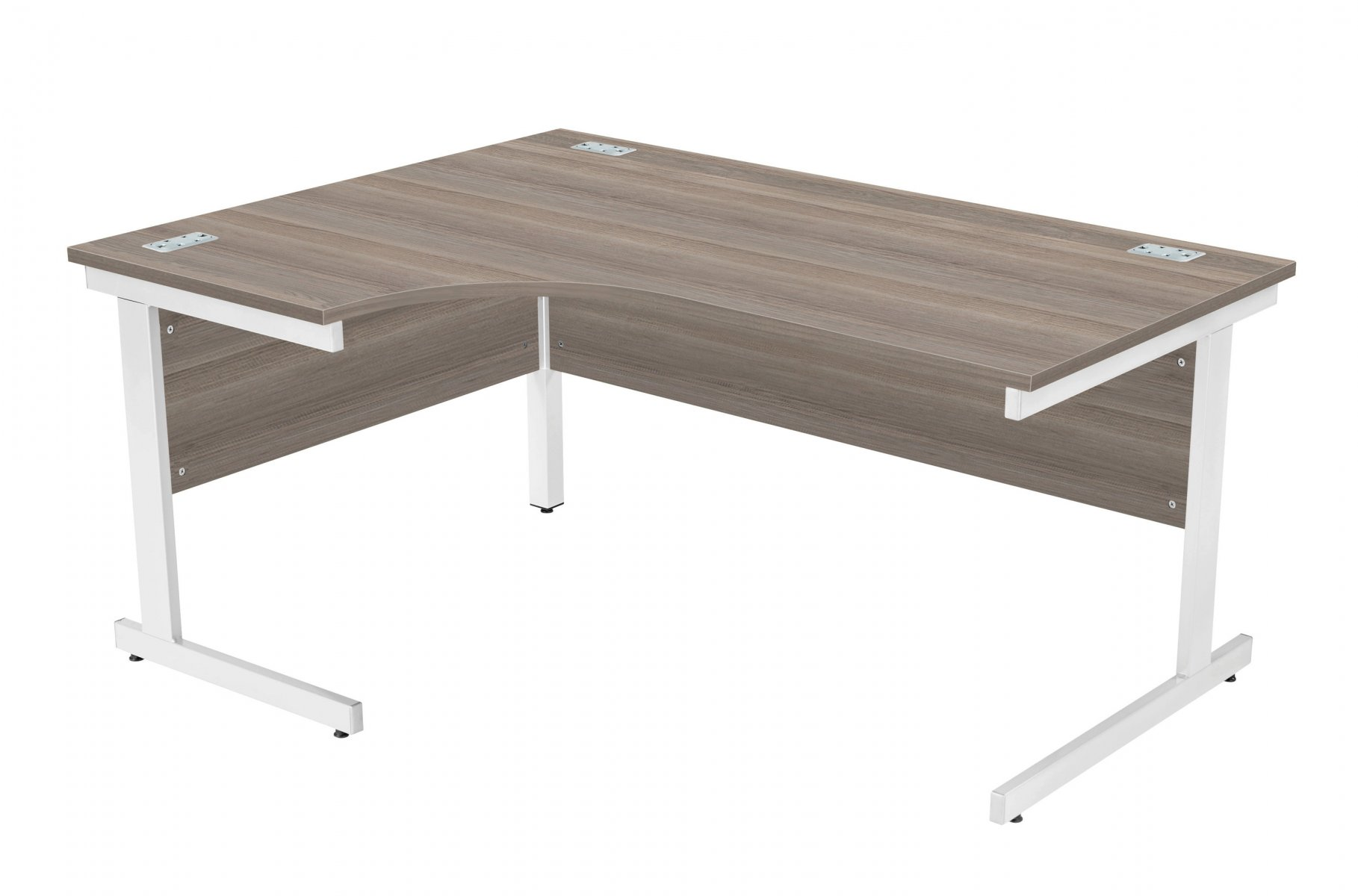 Fraction Plus Left Hand 160 Core Workstation - Grey Oak with Silver Frame