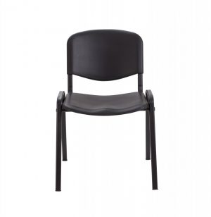 Club Plastic Canteen Chair with Black Frame - Black