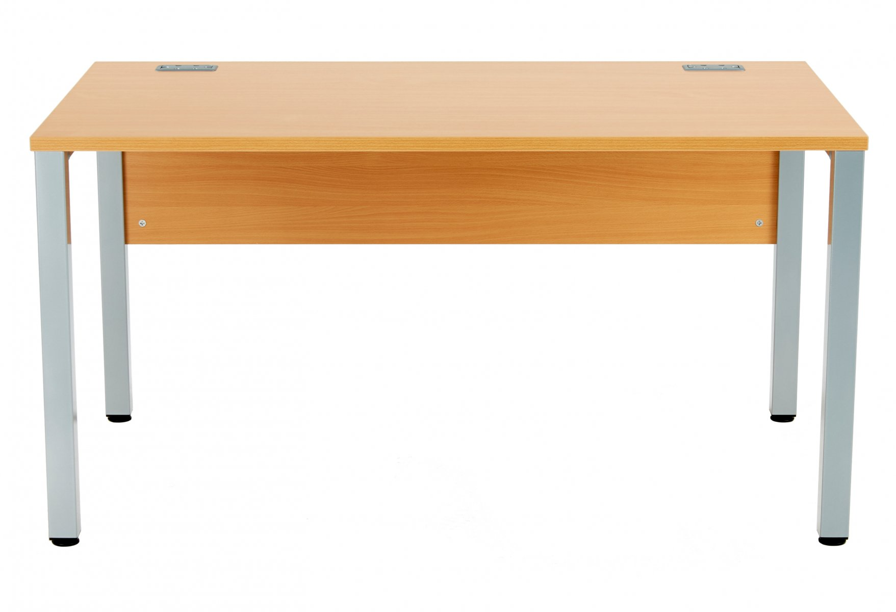 Fraction 3 Rectangular 140 Desk - Beech with Silver Frame