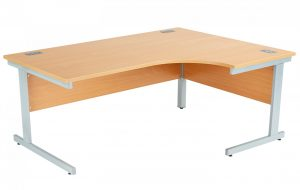 Fraction Plus Right Hand 180 Core Workstation - Beech with Silver Frame