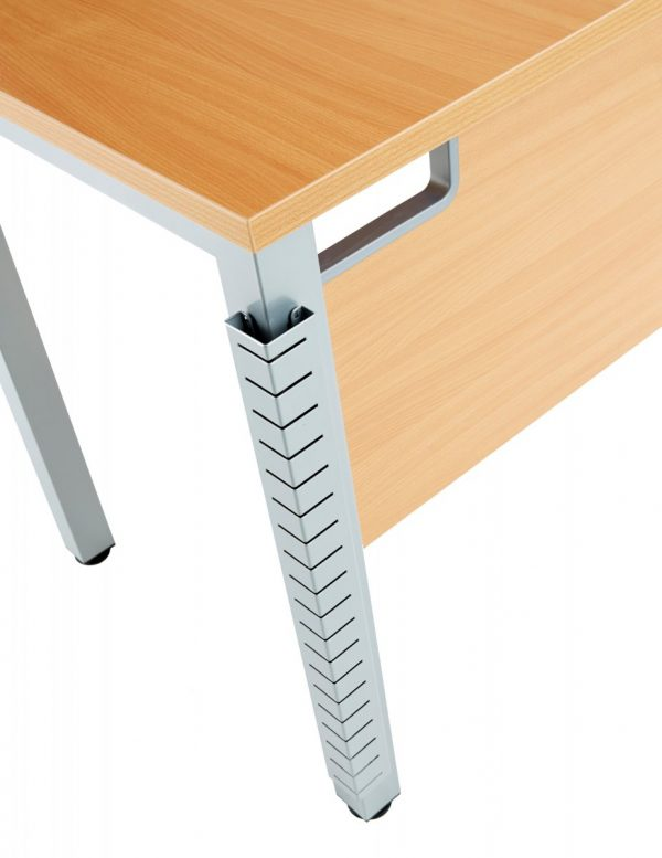 Fraction 3 Left Hand 180 Return Workstation - Beech with Silver Frame