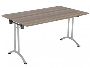 Union Rectangular 140 x 70 Folding Meeting Table - Grey Oak with Silver Frame