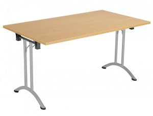 Union Rectangular 140 x 70 Folding Meeting Table - Beech with Silver Frame