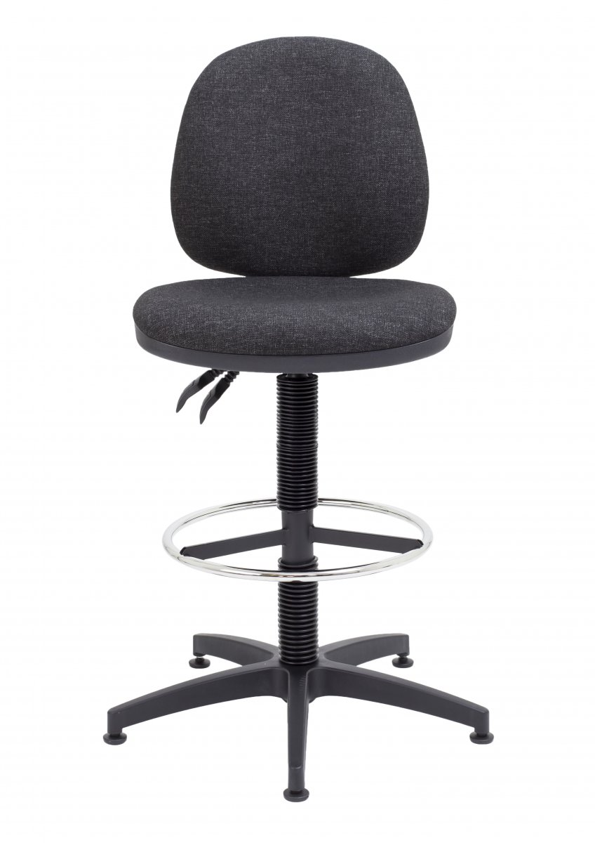 Factory Mid Back Static Draughting Chair - Charcoal
