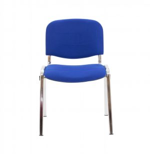Club Upholstered Conference Chair - Royal Blue with Chrome Frame