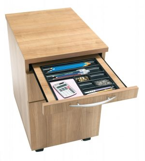 E Space Executive Desk with Left Hand 2 Drawer Pedestal - Cappuccino