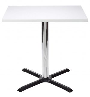 Orlando Square Dining Table - White with Chrome Column