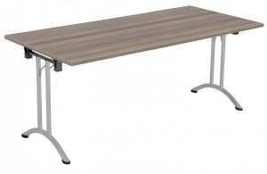 Union Rectangular 160 x 80 Folding Meeting Table - Grey Oak with Silver Frame