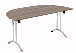 Union D-End Folding 160 Meeting Table - Grey Oak with Silver Frame