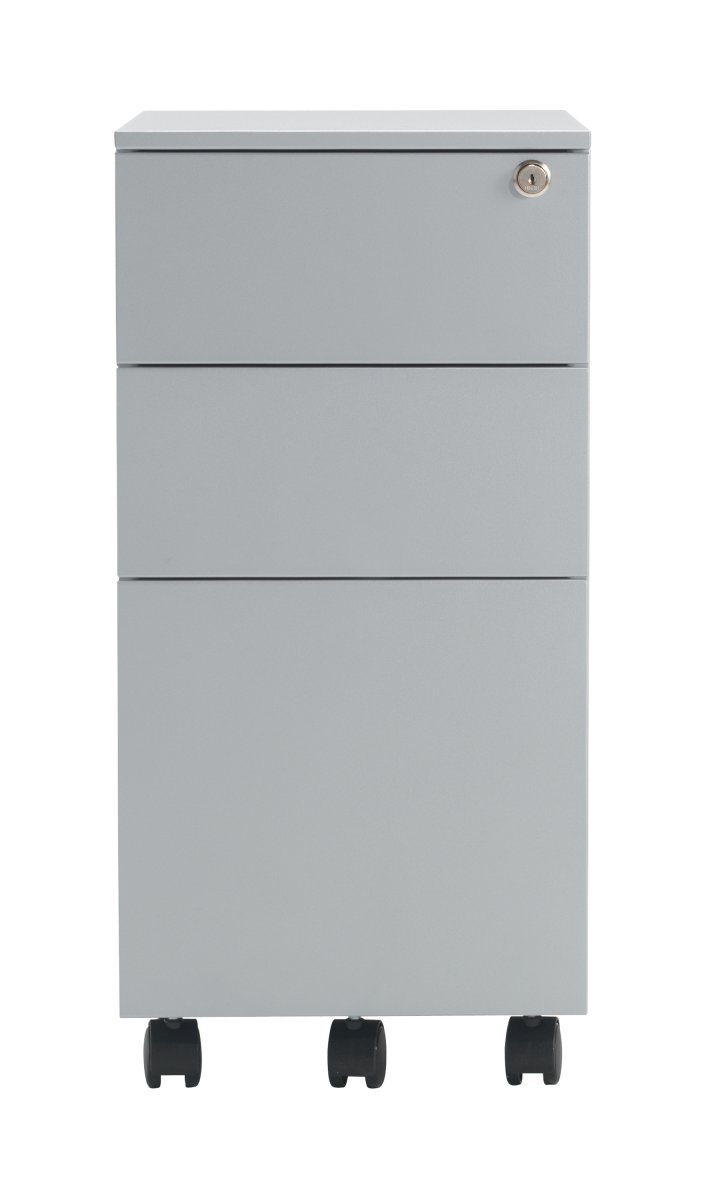 Talos Steel Storage 3 Drawer Slimline Mobile Pedestal - Silver