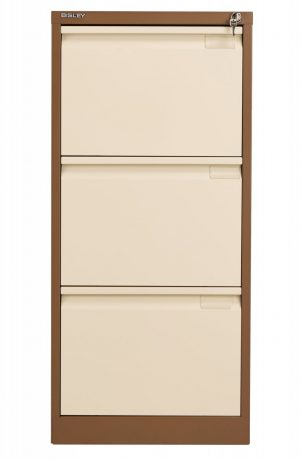 Bisley 3 Drawer Classic Steel Filing Cabinet - Coffee Cream