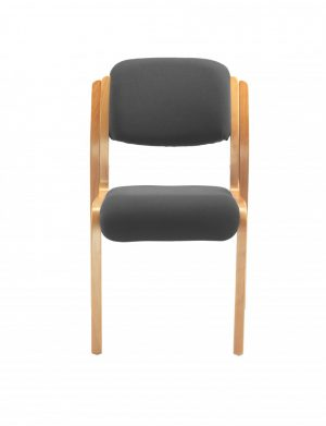 Renoir Stacking Side Chair with No Arms - Charcoal with Beechwood Frame