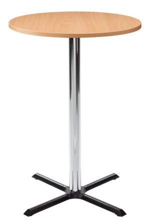 Orlando Poseur Round Dining Table - Beech with Chrome Column
