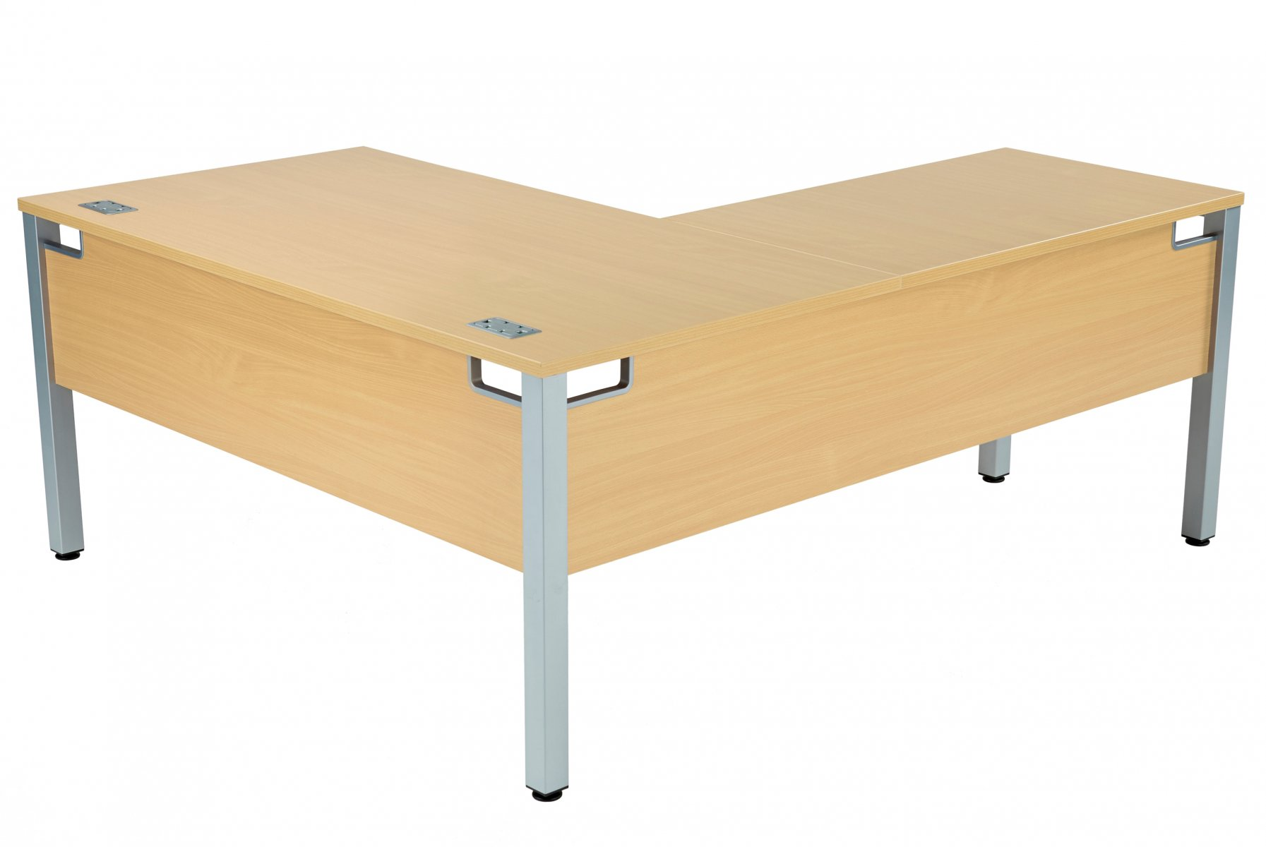 Fraction 3 Left Hand 160 Return Workstation - Nova Oak with Silver Frame