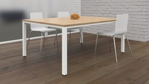 Fraction Infinity 160 x 160 Meeting Table - Beech with White Legs