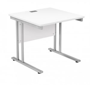 Fraction 2 Square Desk - White with Silver Frame