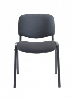 Club Upholstered Conference Chair - Charcoal with Black Frame