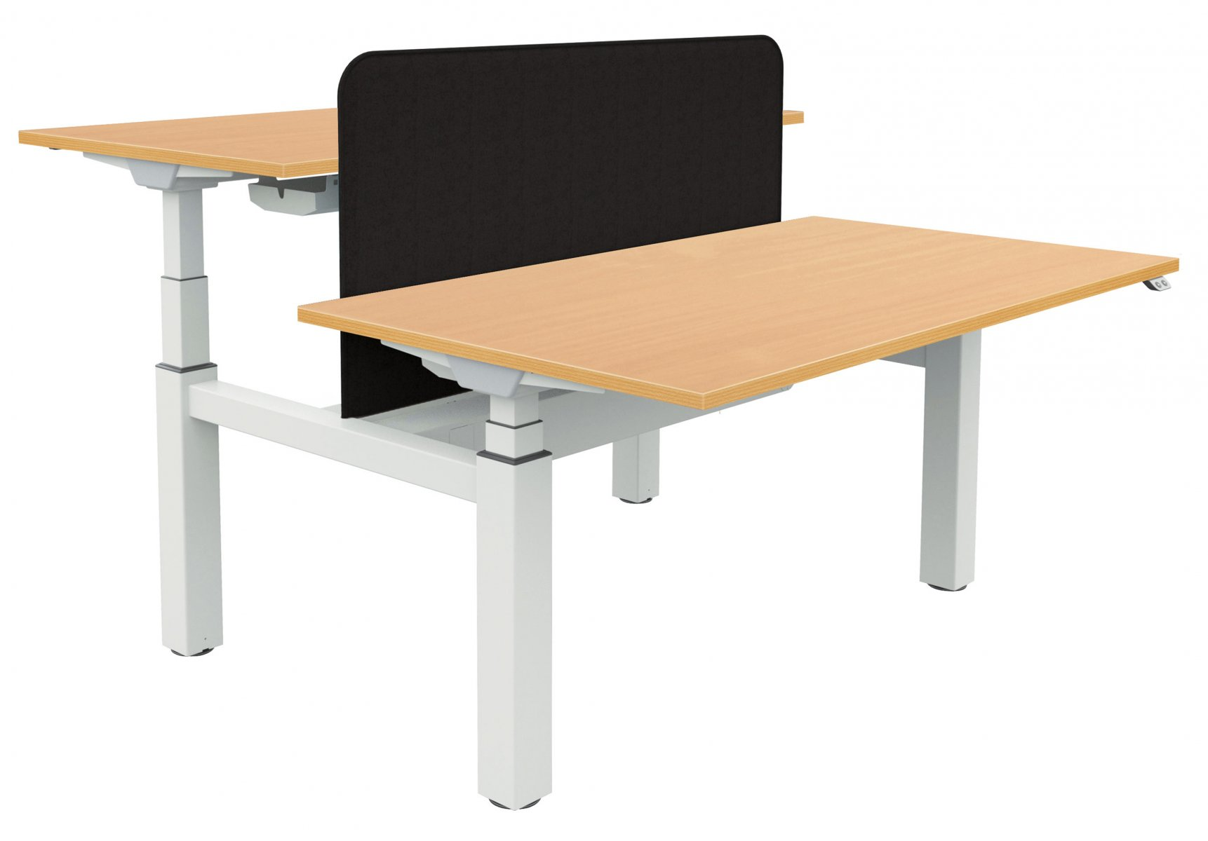 Fraction Bench Electrical Sit-Stand 160 Rectangular Workstation - Beech