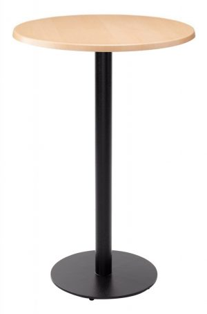 Forza Poseur Round Dining Table - Beech with Black Column