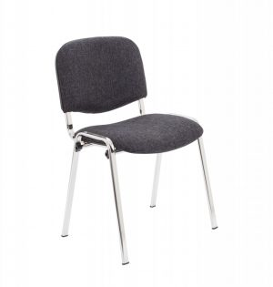 Club Upholstered Conference Chair - Charcoal with Chrome Frame