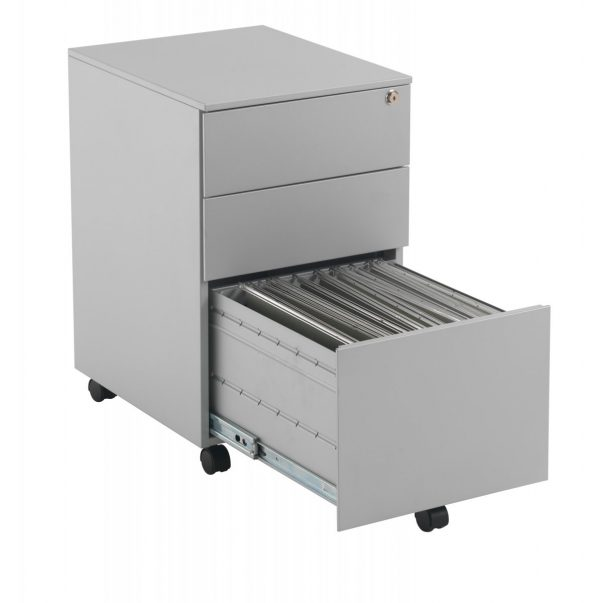 Talos Steel Storage 3 Drawer Mobile Pedestal - Silver
