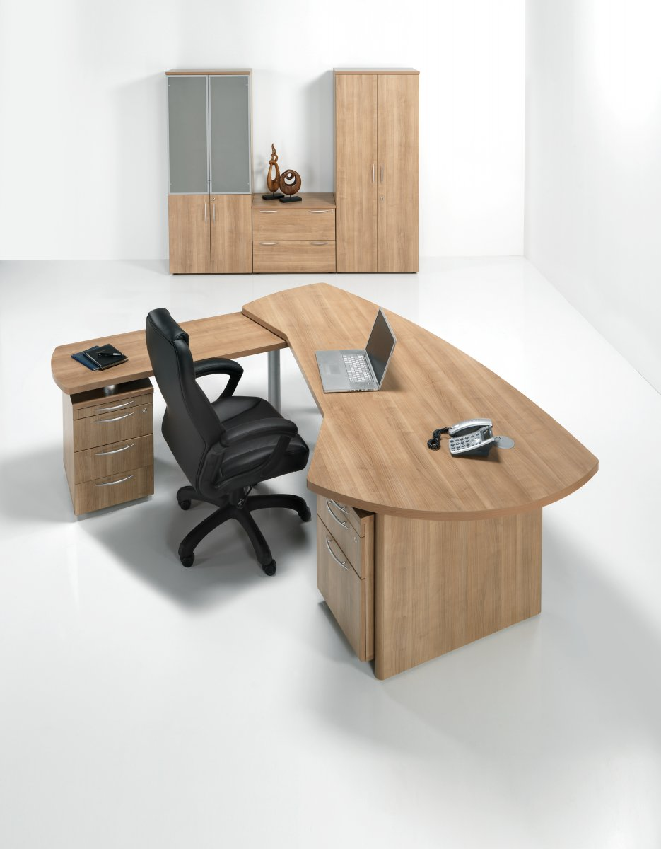 E Space Executive Side Return with 3 Drawer Pedestal - Cappuccino