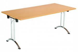 Union Rectangular 160 x 70 Folding Meeting Table - Beech with Chrome Frame