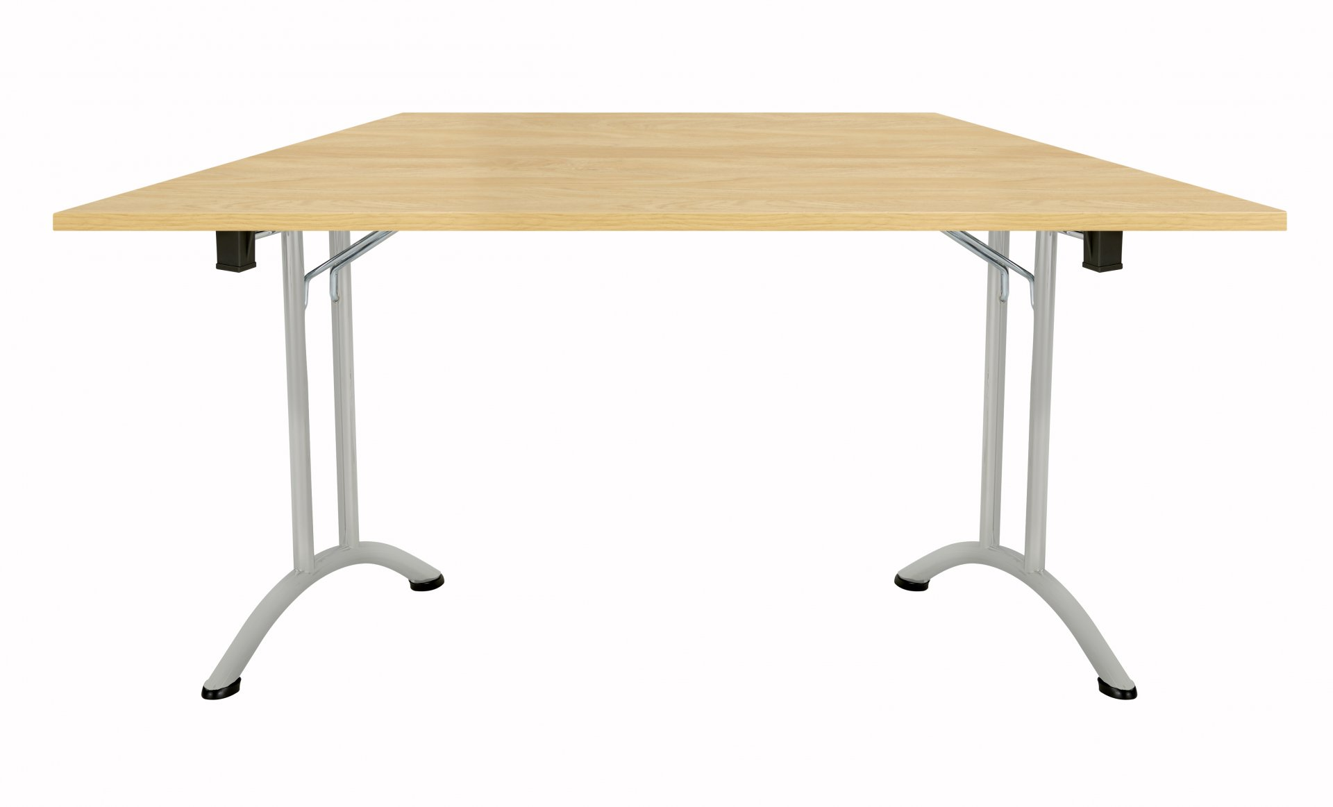 Union Trapezoidal 140 Folding Meeting Table - Nova Oak with Silver Frame