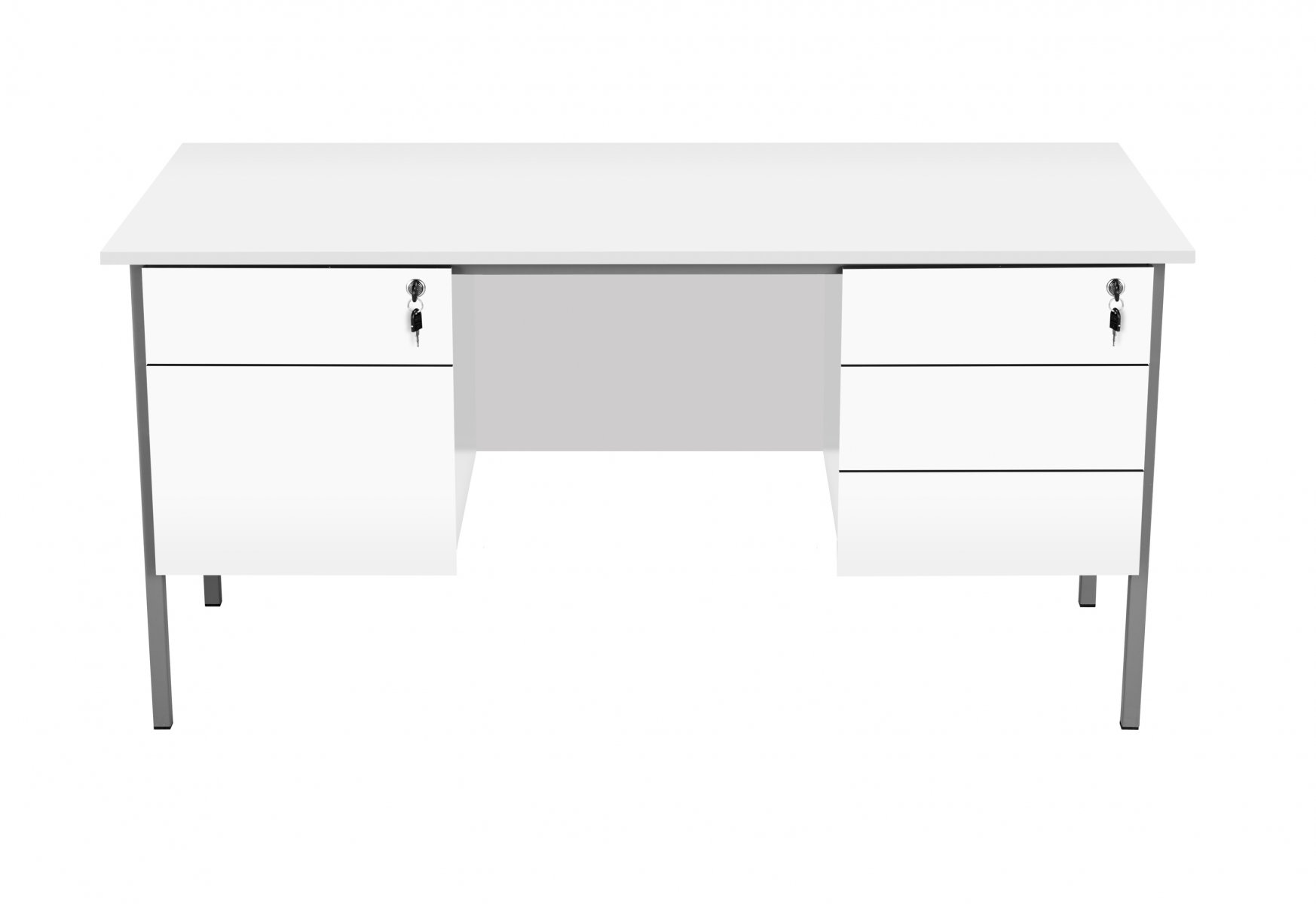 Eco 18 Rectangular 150 Desk with Double 2 and 3 Drawer Pedestals - White