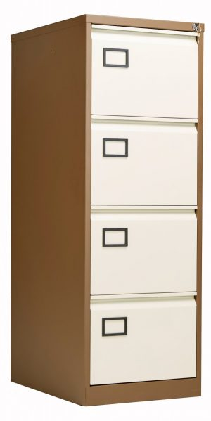 Bisley 4 Drawer Contract Steel Filing Cabinet - Coffee Cream