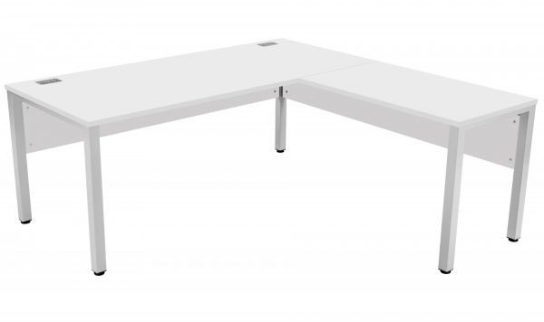 Fraction 3 Right Hand 180 Return Workstation - White with Silver Frame