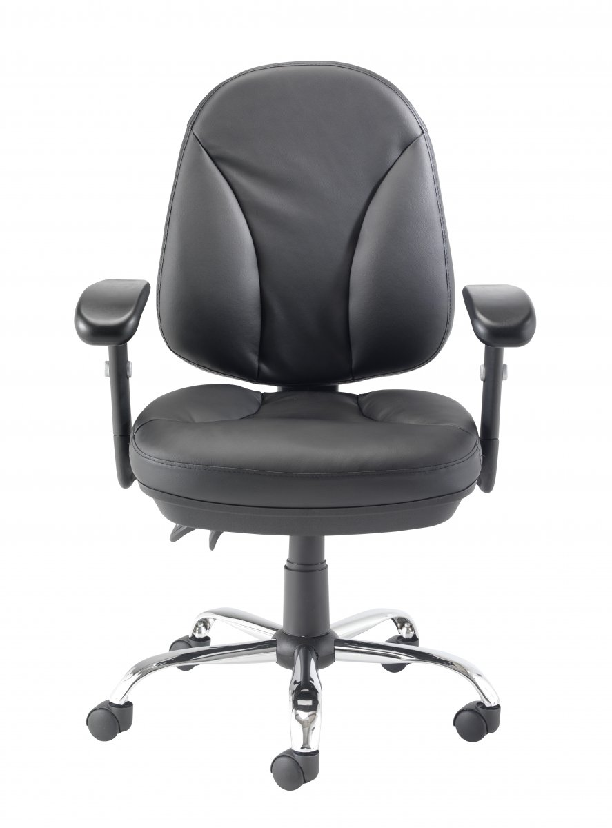 Puma Leather Medium Back Chair - Black