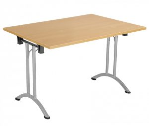 Union Rectangular 120 x 70 Folding Meeting Table - Beech with Silver Frame