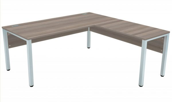 Fraction 3 Right Hand 180 Return Workstation - Grey Oak with Silver Frame