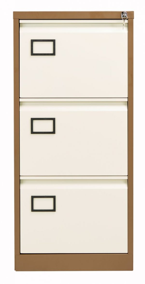 Bisley 3 Drawer Contract Steel Filing Cabinet - Coffee Cream