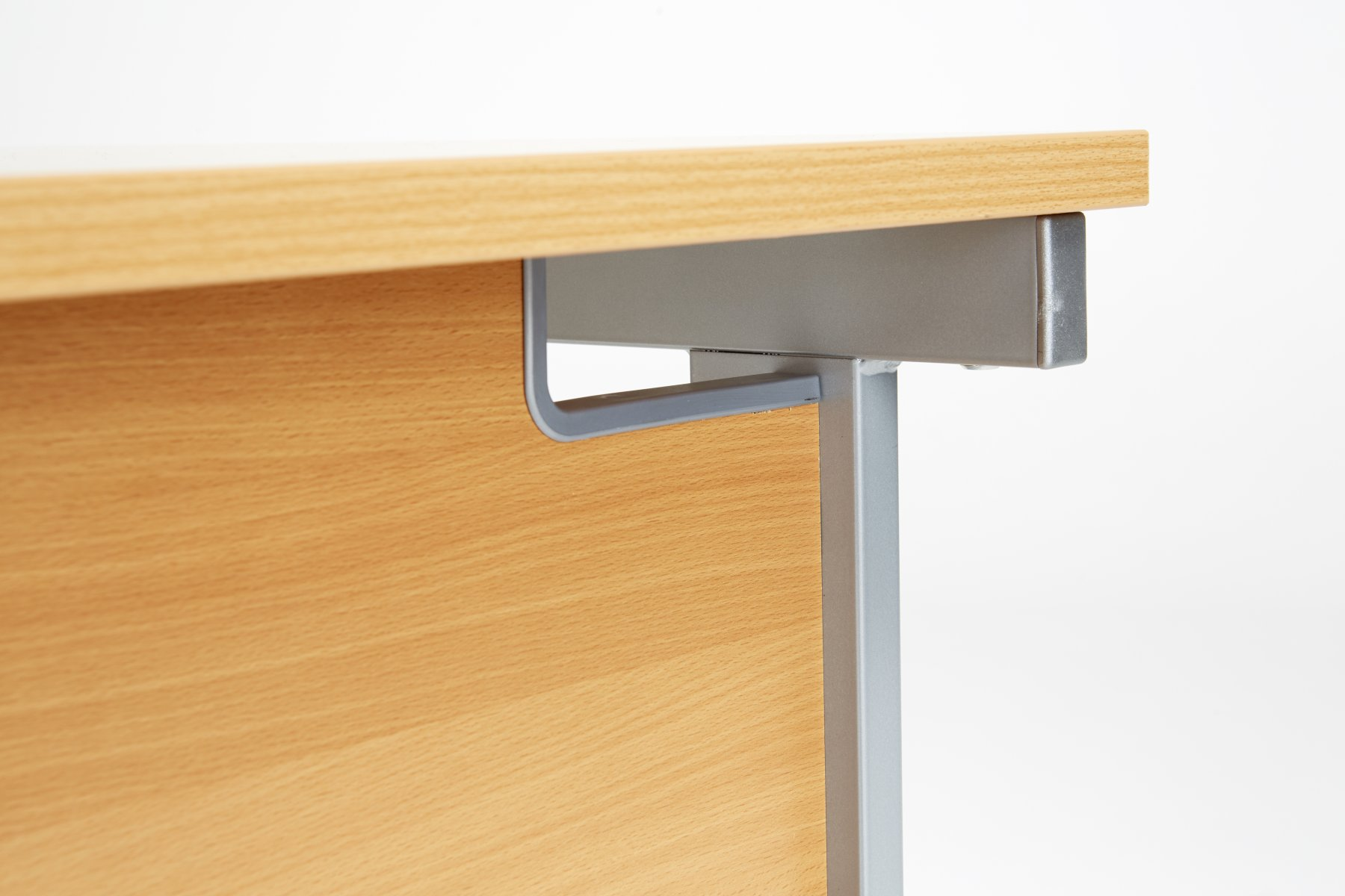 Fraction Plus Rectangular 160 Desk - Beech with Silver Frame