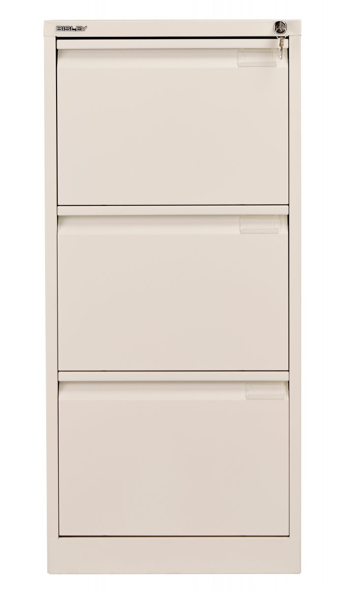 Bisley 3 Drawer Classic Steel Filing Cabinet - Chalk