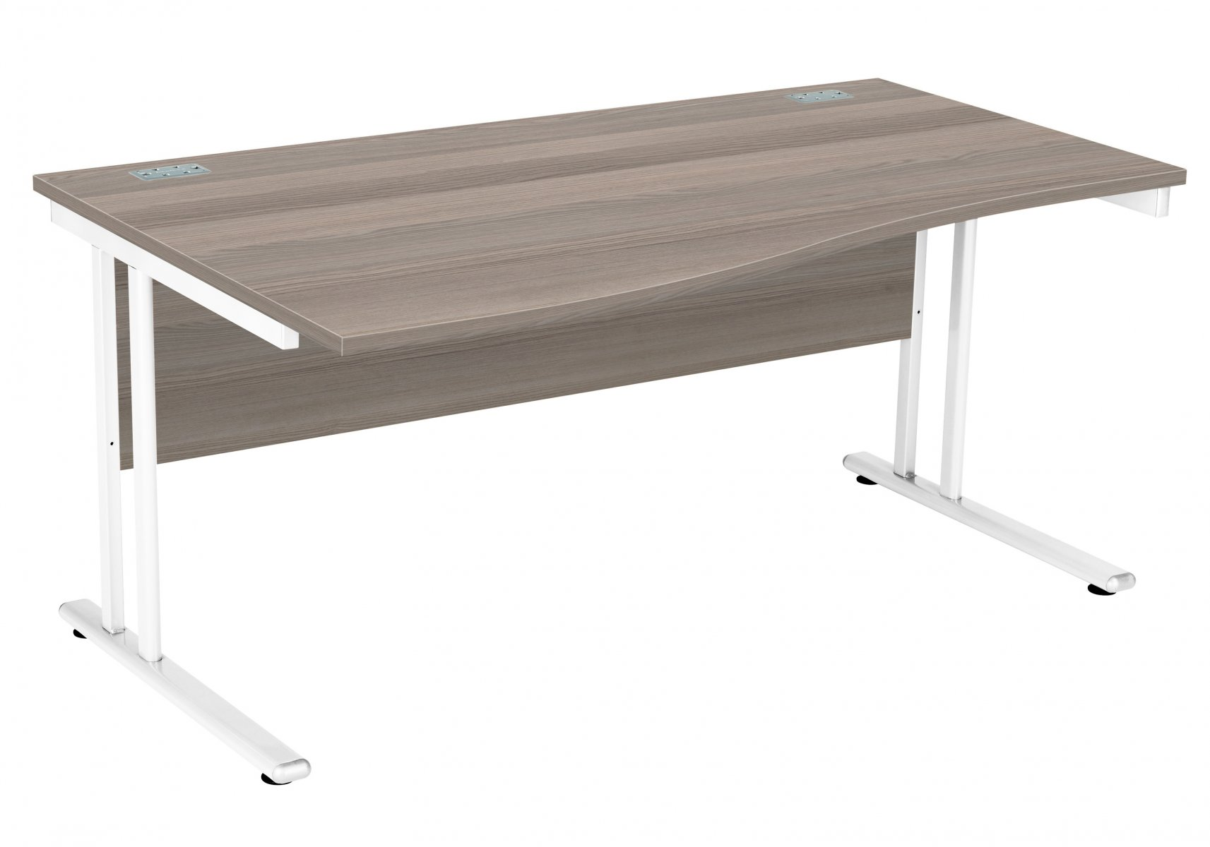 Fraction 2 Left Hand 160 Wave Workstation - Grey Oak with Silver Frame