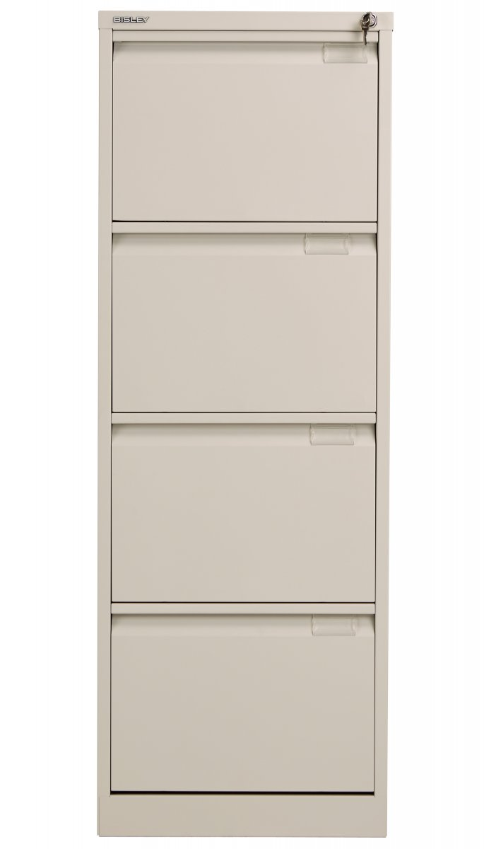 Bisley 4 Drawer Classic Steel Filing Cabinet - Goose Grey
