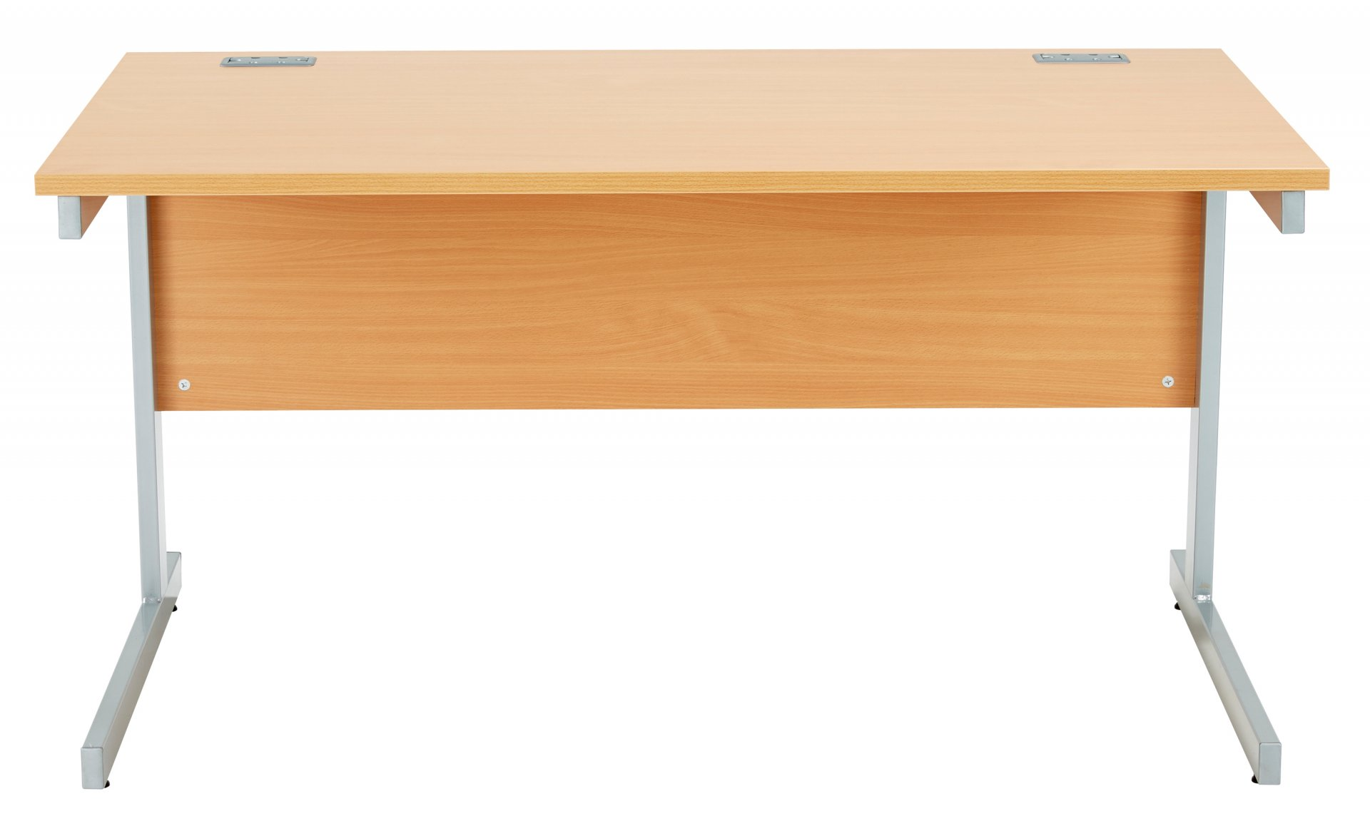 Fraction Plus Rectangular 140 Desk - Beech with Silver Frame