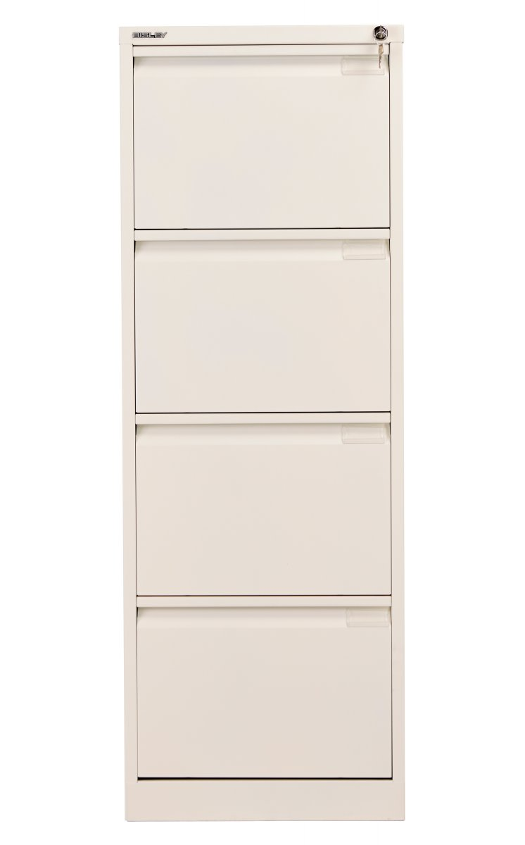 Bisley 4 Drawer Classic Steel Filing Cabinet - Chalk