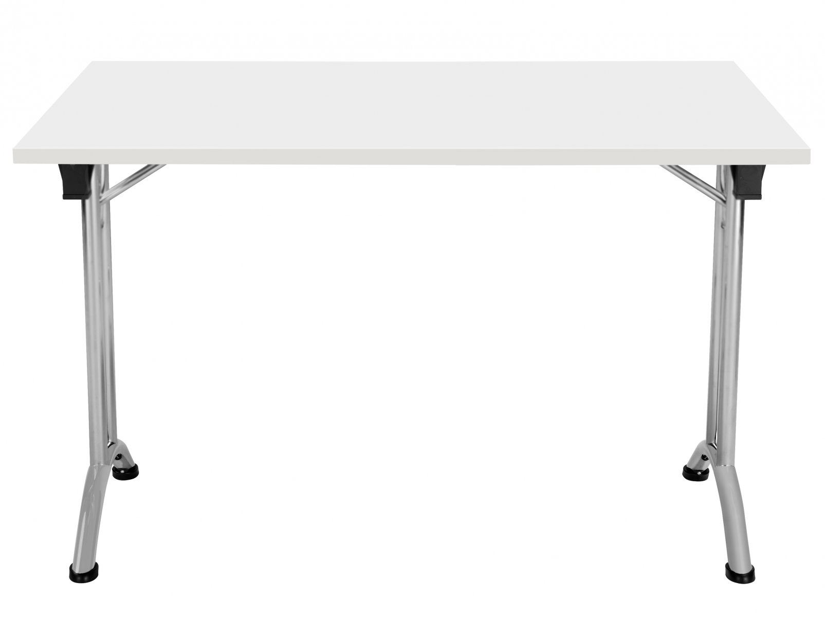 Union Rectangular 120 x 80 Folding Meeting Table - White with Silver Frame