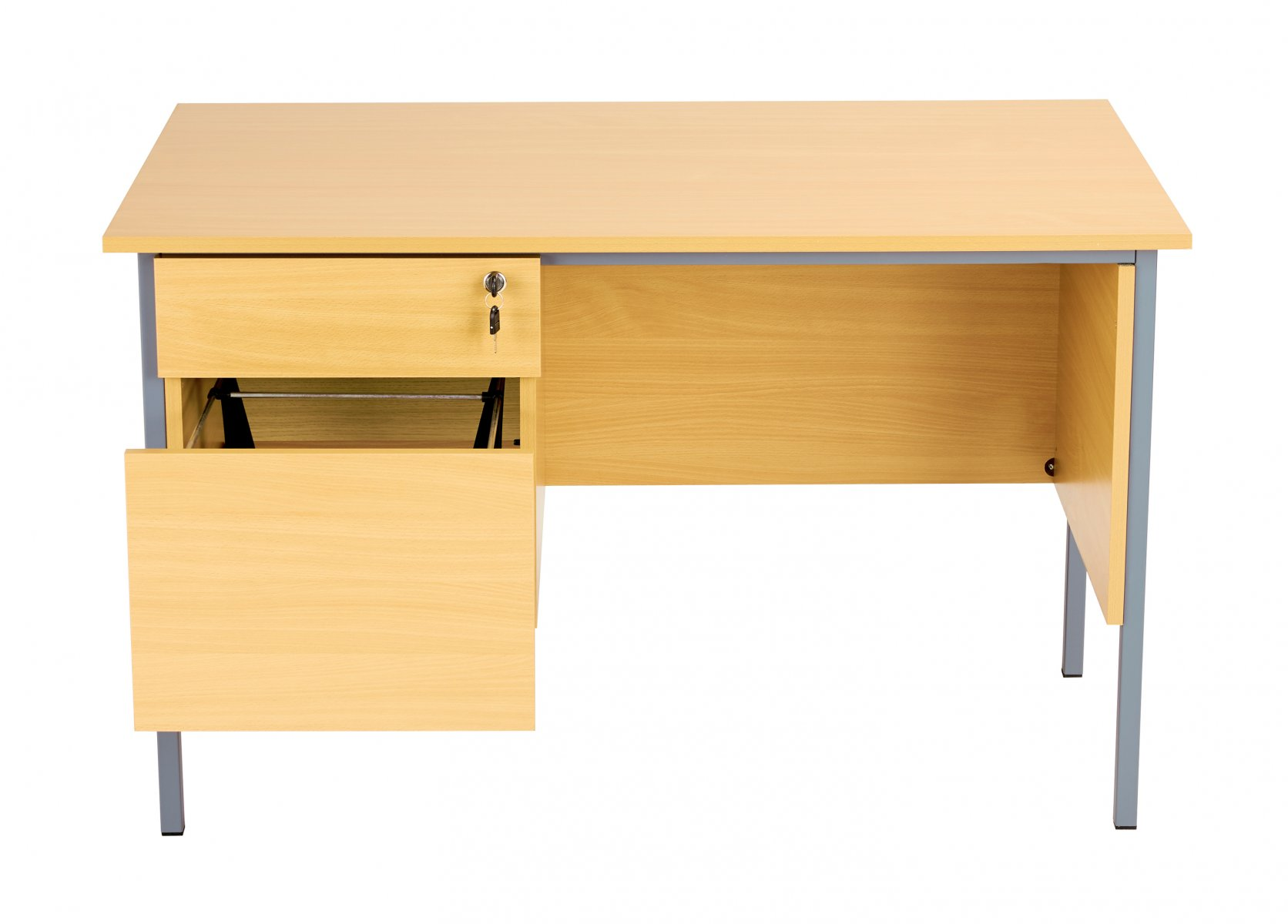 Eco 18 Rectangular 120 Desk with Single 2 Drawer Pedestal - Oak
