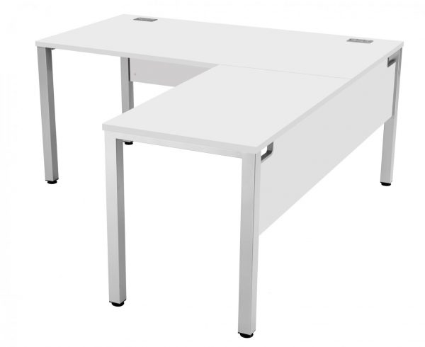 Fraction 3 Right Hand 160 Return Workstation - White with Silver Frame