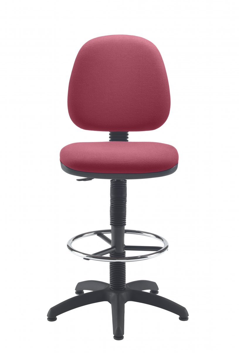 Factory Mid Back Hi-Rise Static Draughting Chair - Claret
