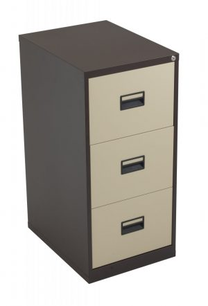 Talos Steel Storage 3 Drawer Filing Cabinet - Coffee Cream