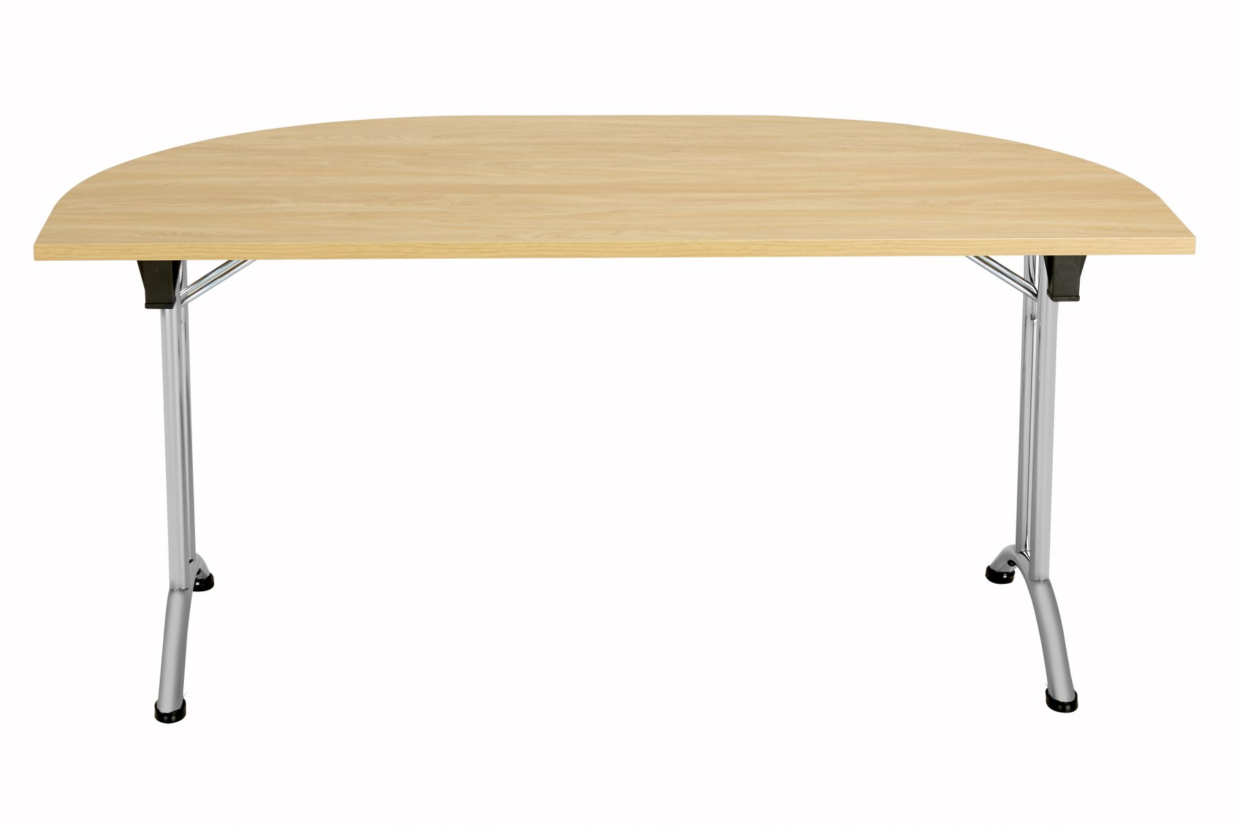Union D-End Folding 160 Meeting Table - Nova Oak with Silver Frame